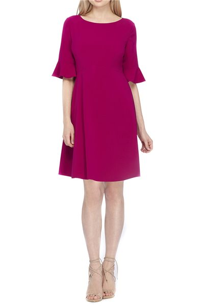 Tahari Brand - Bell Sleeve Sheath Dress - Magenta