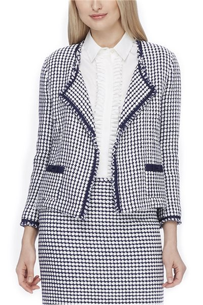 Tahari Brand - Fringed Tweed Wing-Collar Jacket