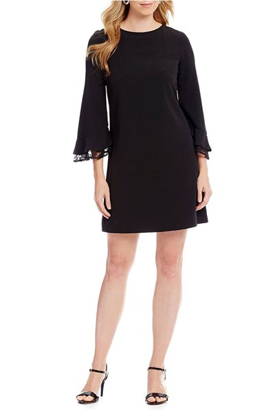 Tahari Brand - Tahari ASL Crepe Lace Ruffle Bell Sleeve Shift Dress - Black
