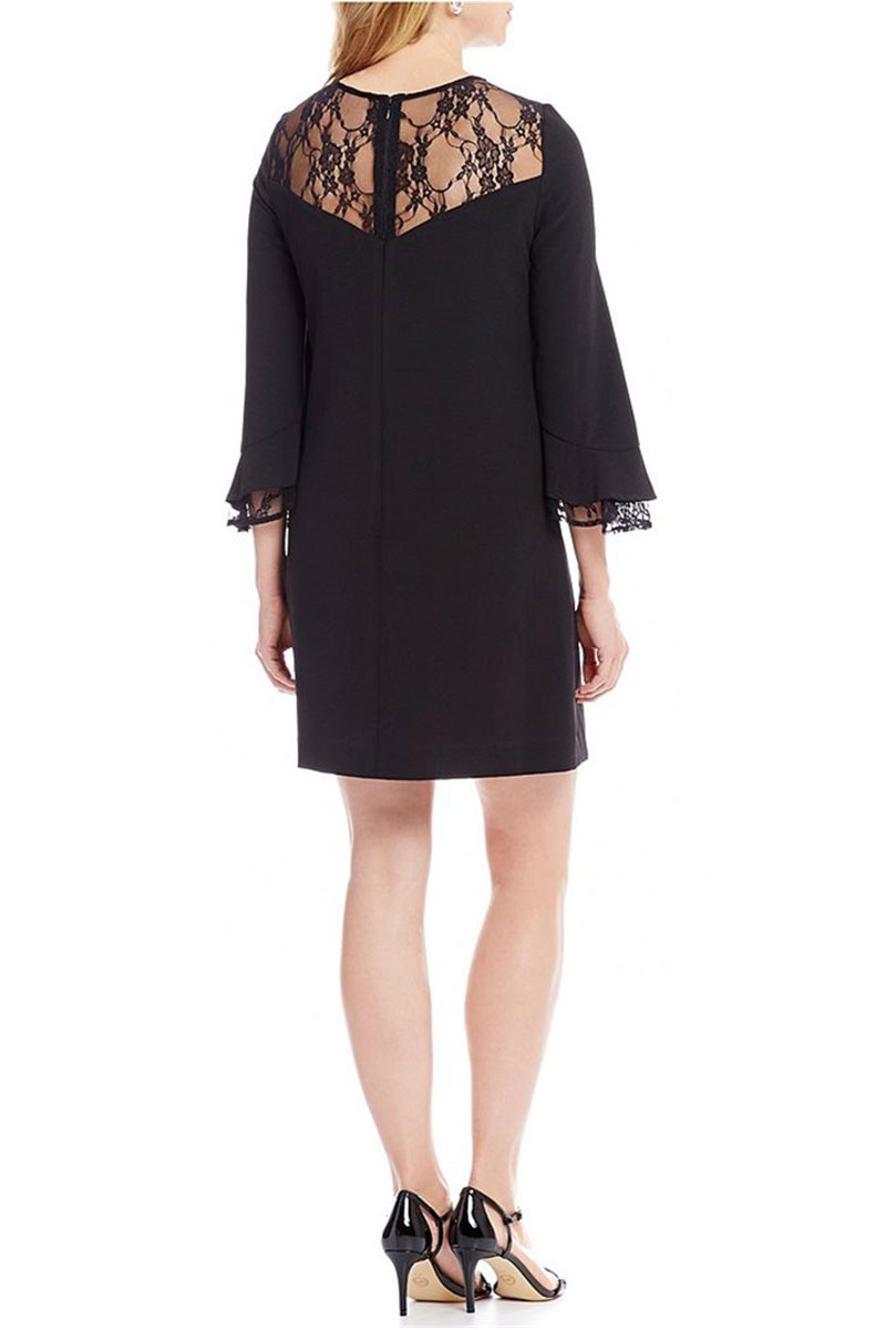 7475b574e2c1 Tahari Brand - Tahari ASL Crepe Lace Ruffle Bell Sleeve Shift Dress - Black
