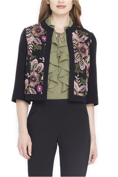 Tahari Brand - Folkloric Embroidered Crepe Jacket - Black - Pink
