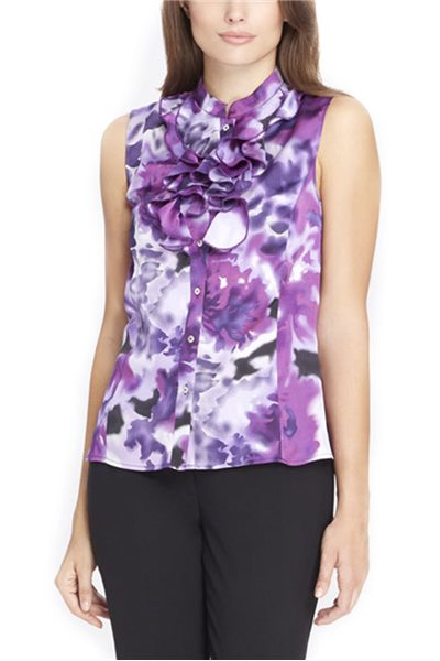 Tahari Brand - Ruffled Stand Collar Print Blouse - Purple - Lilac