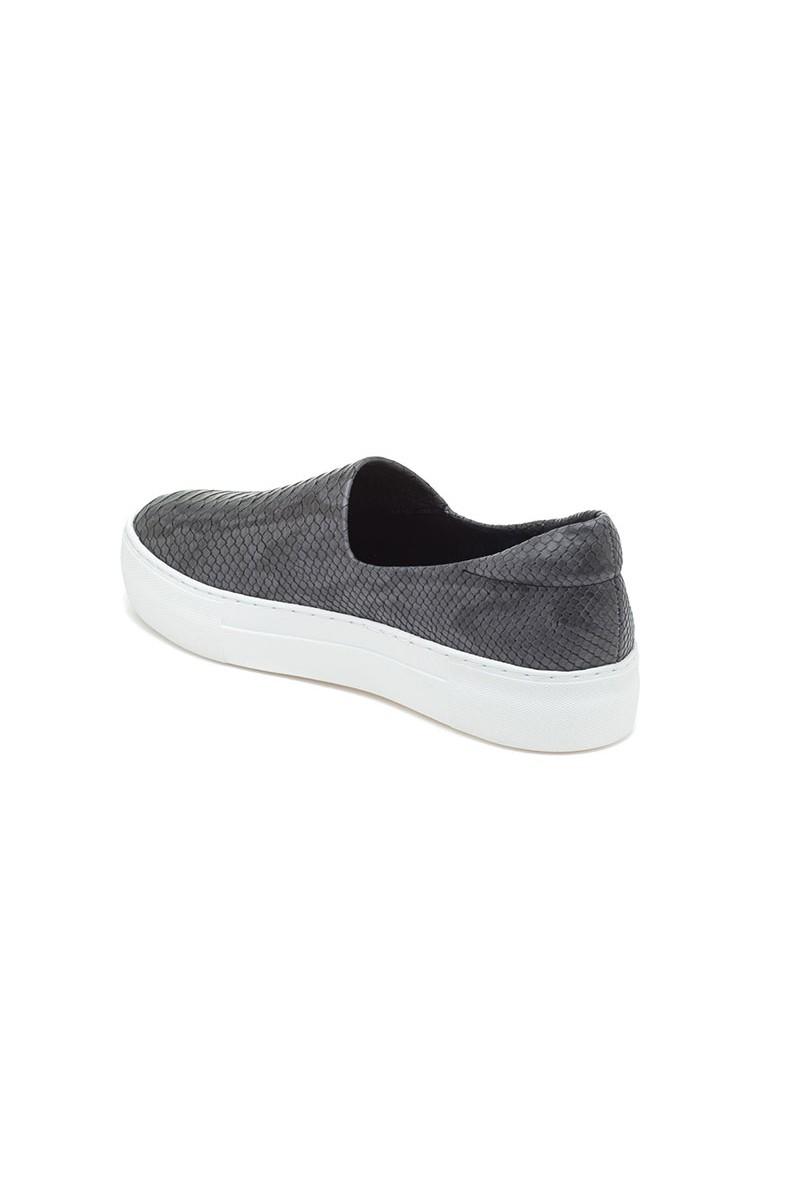 J Slides - Ariana - Dark Grey Embossed Leather ef6ed3859d02