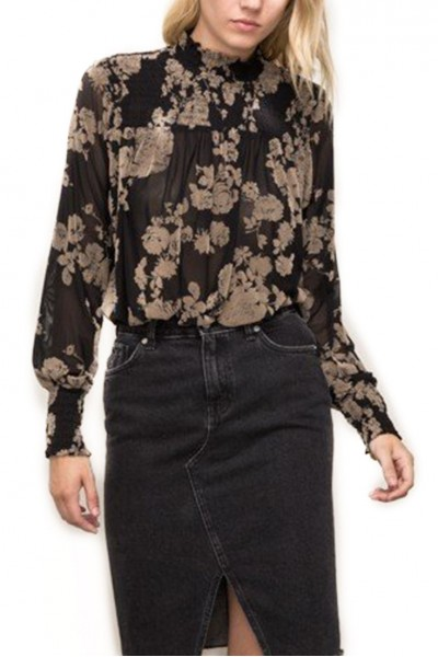 Mystree - Smoking Detail Mock Neck Lace Top - Black/Mocha