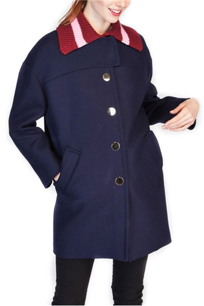 Tara Jarmon - Knit Collar Coat - Night Blue