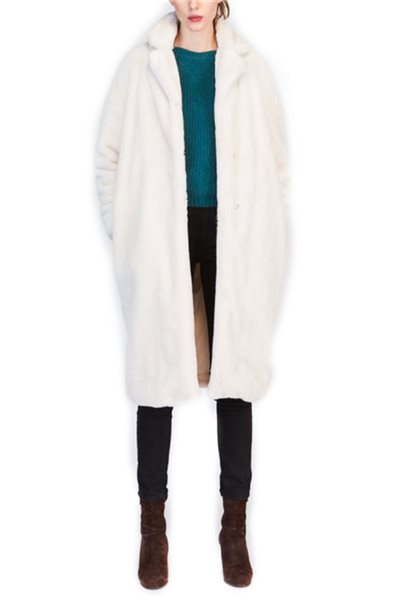 Tara Jarmon - White Faux Fur Coat - Ercu