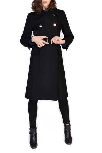 Tara Jarmon - Long Black Pea Coat - Black