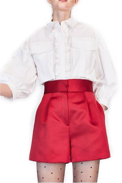 Tara Jarmon - Ruffled Poplin Button Up - White