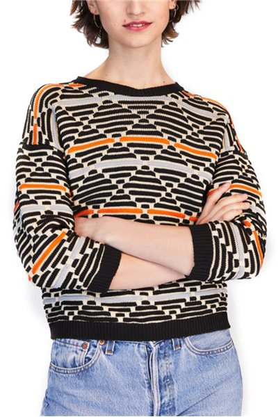 Tara Jarmon - Graphic Knit Pullover - Black