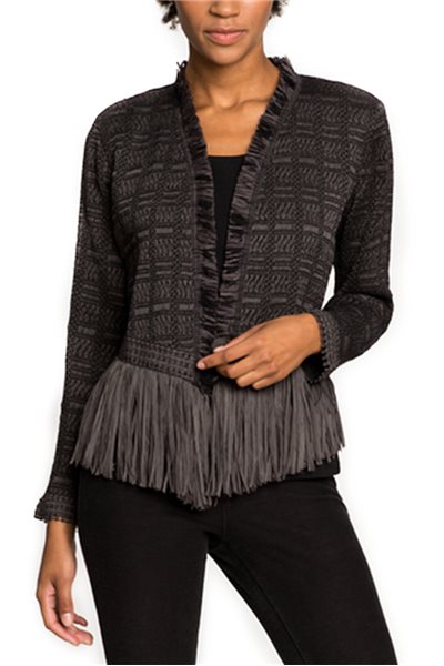Nic + Zoe - Steel Fringe Jacket - Warm Grey