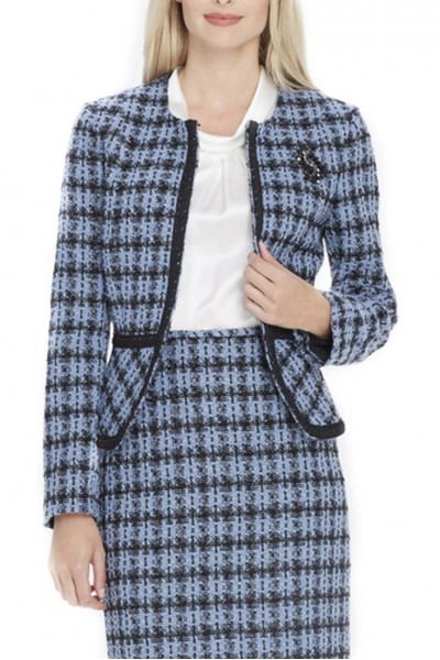 Tahari Brand - Braid-Trim Boucle Jacket With Pin - Blue - Boucle