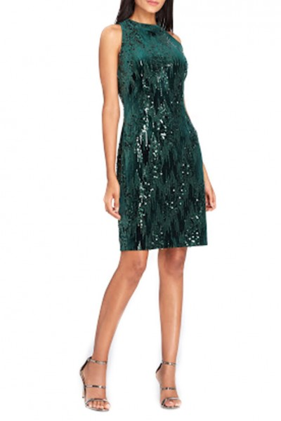 Tahari Brand - Tahari ASL Sequin Velvet Sheath Dress - Forest