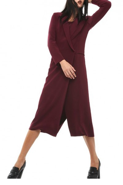 Norma Kamali - Double Breasted Coat Dress - Plum