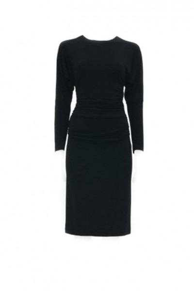 Norma Kamali - Dolman Shirred Waist Dress - Black