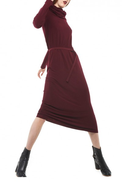 Norma Kamali - Oversized Turtleneck Midcalf - Plum