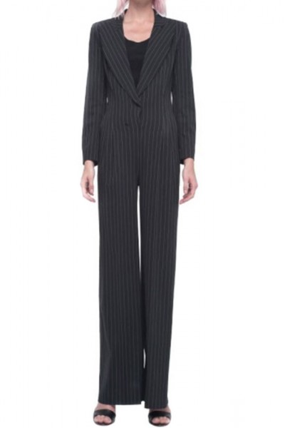 Norma Kamali - Wide Leg Jumpsuit - Black Pinstripe