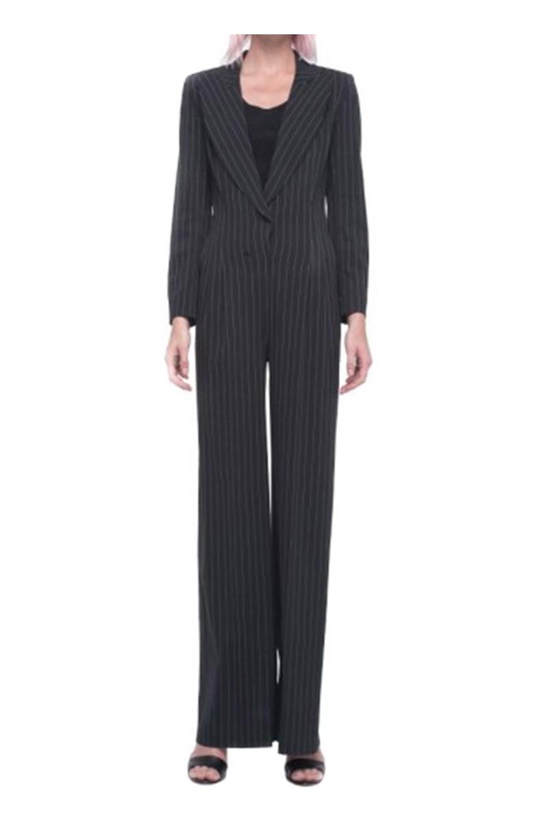 Norma kamali wide leg jumpsuit black pinstripe - Norma kamali costumi da bagno ...