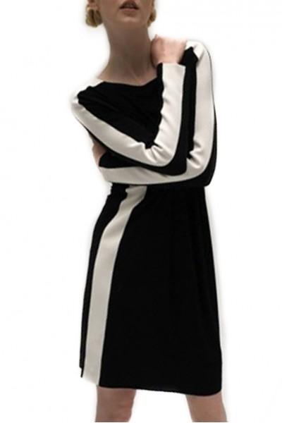 Norma Kamali - Side Stripe Long Sleeve Crew Dress to Knee - Black/Ivory