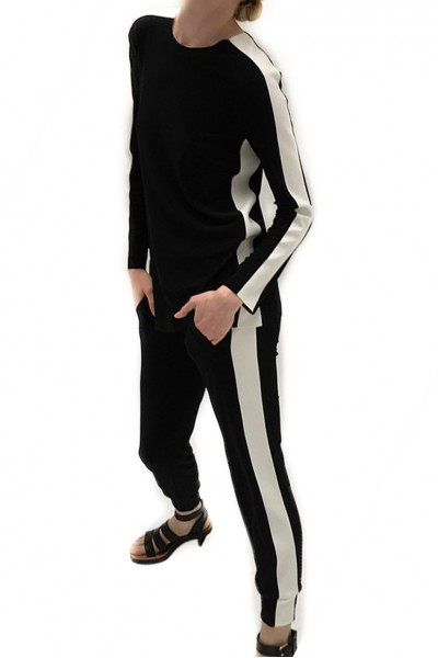 Norma Kamali - Side Stripe Long Sleeve Crew Top - Black/Ivory