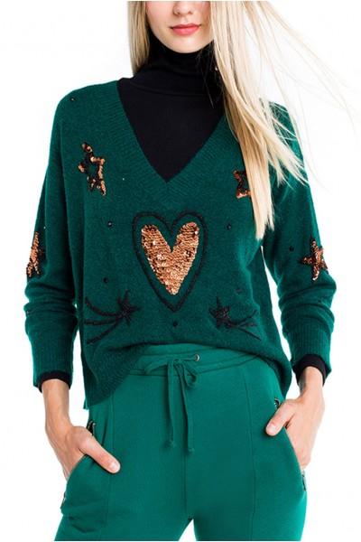 Wildfox - Star Love Clemente Sweater - Woodfall Green