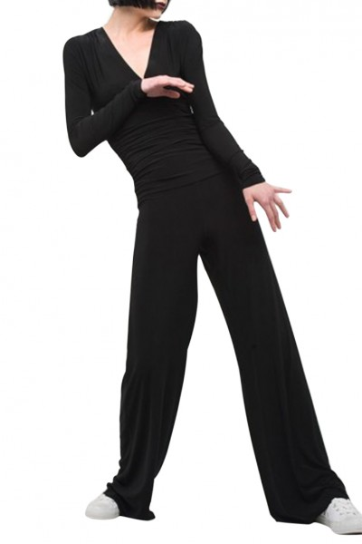 Norma Kamali - V Neck Long Sleeve Shirred Waist Jumpsuit - Black