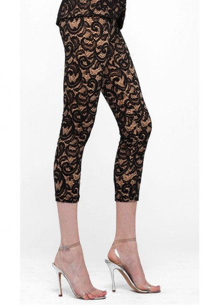 Norma Kamali - Cropped Legging Lace - Black