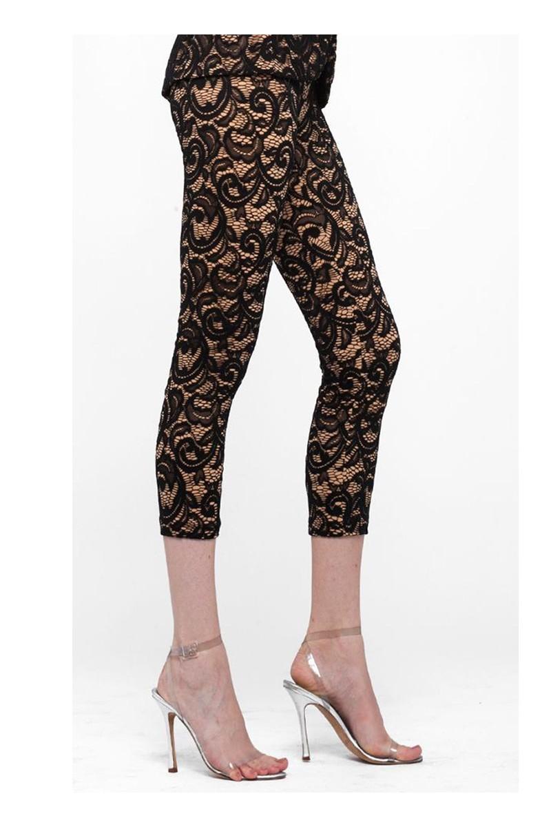 Norma Kamali - Cropped Legging Lace - Black