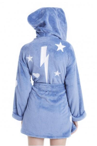 Wildfox Thunderbolt Plush Women's Bath Robe Spa Sleepwear Pajama - Blue