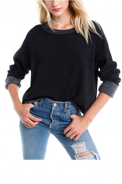 Wildfox Essential Women's Sweater Monte Crop Sweatshirt Pullover - Black