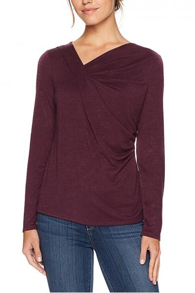 Nic+Zoe - Women's Blouse Every Occasion Drape Knit Top - Wine