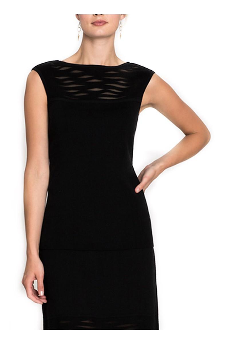 Nic+Zoe - Women's Aurora Sheer Paneled Knit Tank - Black