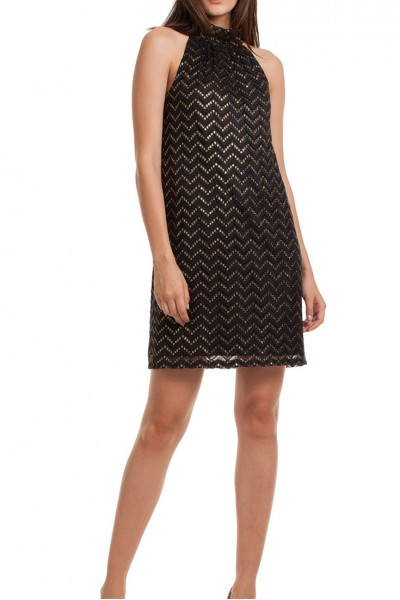 Trina Turk -  Glam Night Out Morrison Dress - Black - Gold