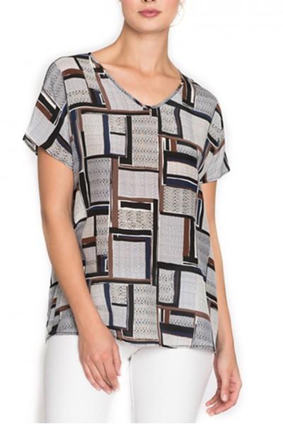 Nic + Zoe - Women's T-Shirt Falling Cube Tee - Multi