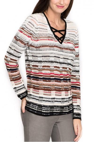 Nic + Zoe - Women's Red Hills Knit Top - Multi