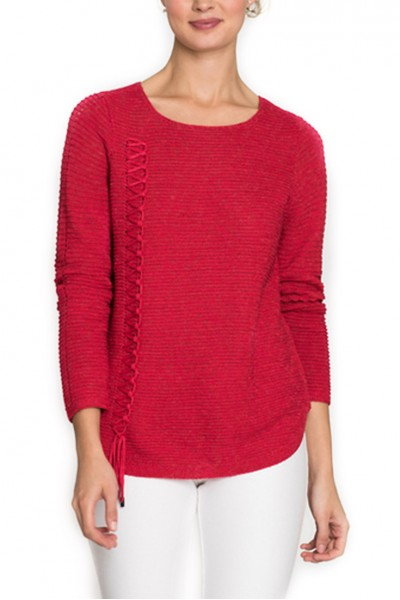Nic + Zoe - Women's The Braided Up Knit Top - True Red
