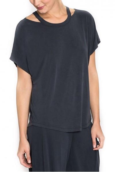 Nic + Zoe - Women's T-Shirt Seasonless Cut Out Top - Washed Midnight