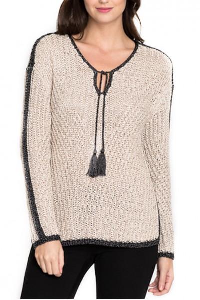 Nic + Zoe -  Sweater Diamond Beach Knit Top - Sandshell Mix