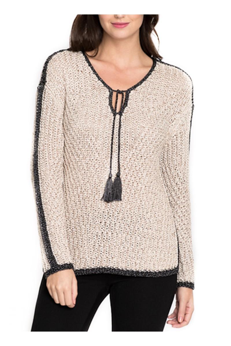 Nic Zoe Womens Sweater Diamond Beach Knit Top Sandshell Mix