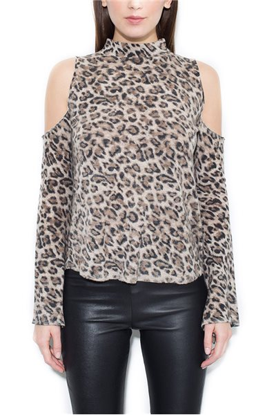 Generation Love - Women's Cold-Shoulder Lena Cashmere Top - Leopard