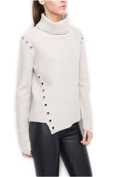 Generation Love - Women's Turtleneck Sweatshirt Ambrose Eyelets Sweater - Oatmeal