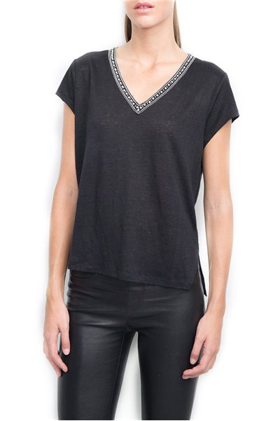 Generation Love - Women's Thalia Crystal V Neck T-Shirt Top - Black