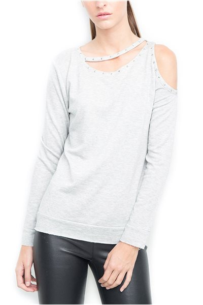 Generation Love - Women's Delphi Cold Shoulder Cut Out Top - Grey