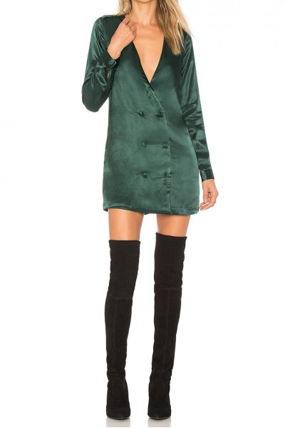 L'Academie - Women's Deep V-Neck Cadet Dress - Emerald