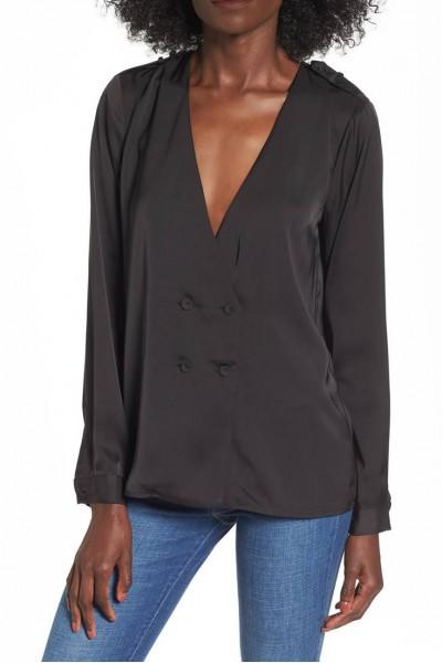 L'Academie - Women's Deep V-Neck Cadet Blouse - Black