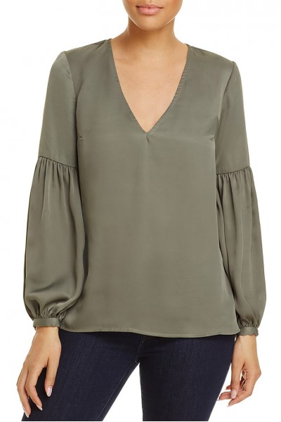 L'Academie - Women's Ruched Sleeves Maya Top - Olive