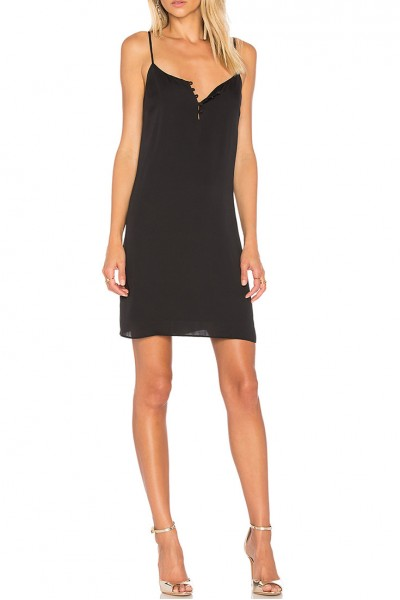 L'Academie - Women's Poly Blend Mini Slip Dress- Black