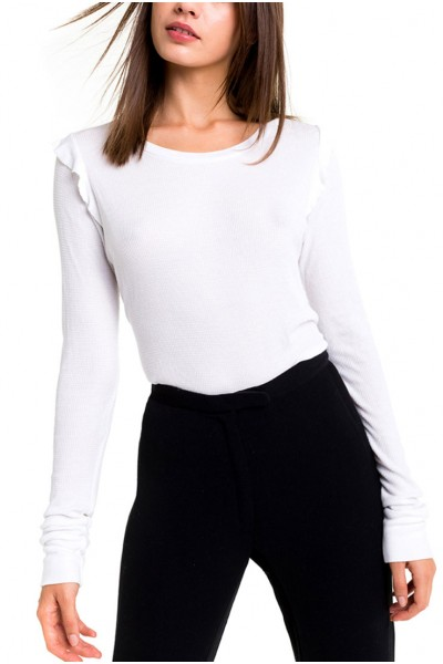 Wildfox -  Medley Long Sleeve Knit Top - Clean - White