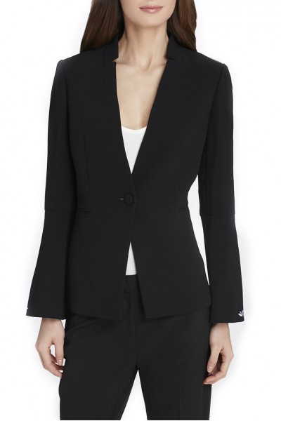 Tahari Brand - Women's Flare Sleeve, Star Neck Crepe Jacket - Black
