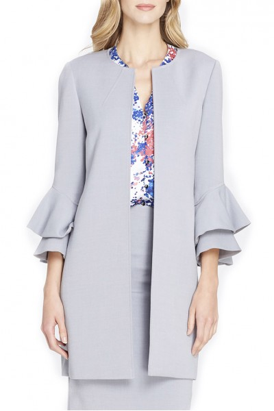 Tahari Brand - Women's Shirts & Open Front Double-Flounce Sleeved Ponte Topper - Silver Grey