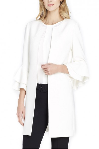 Tahari Brand - Women's Shirts & Open Front Double-Flounce Sleeved Ponte Topper - Cloud